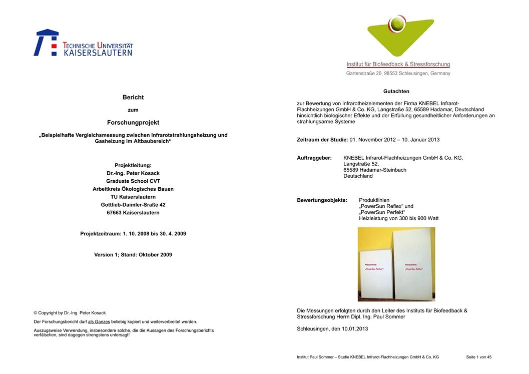 Infrarotheizung Forschungsbericht Gutachten Knebel-Infrarotheizungen